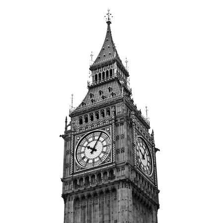 Big Ben, Houses of Parliament, Westminster Palace, London gothic architecture - isolated over white background Standard-Bild