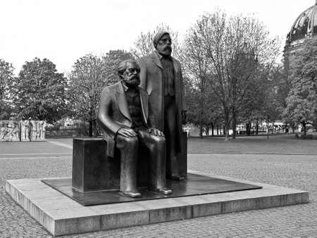 Marx and Engels statue in Marx-Engels-Forum, Alexanderplatz, Berlin photo