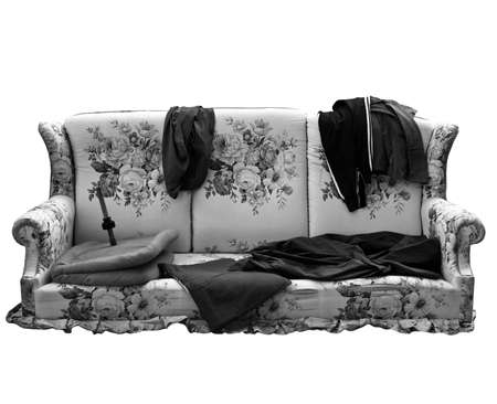 hobo: Old sofa with clothes used by poor homeless hobo