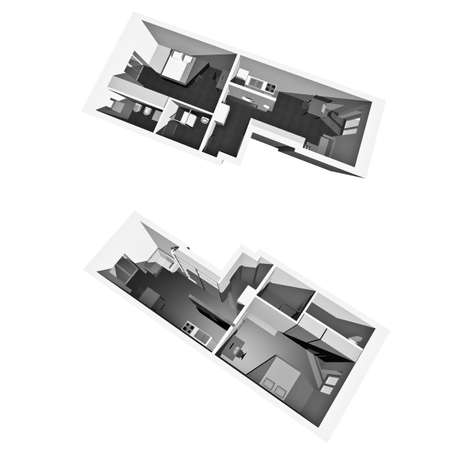 Home interior model of a modern flat (two perspective views) - white background Stock Photo - 9389215