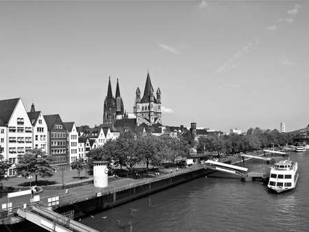 Koeln (Germany) panorama including the gothic cathedral and river Rhine Stock Photo - 9389280