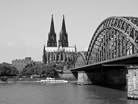Koeln (Germany) panorama including the gothic cathedral and steel bridge over river Rhine Stock Photo - 9389339