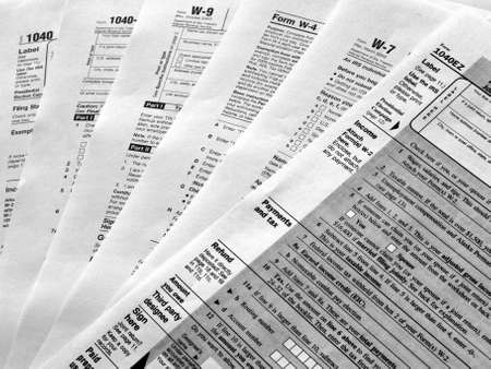 financial statements: Range of various blank USA tax forms Stock Photo
