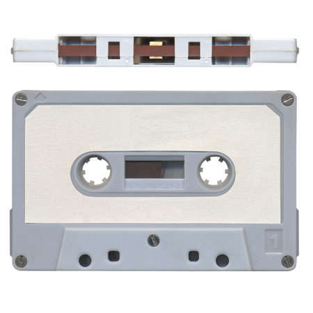 Front and side view of vintage magnetic tape audio cassette photo