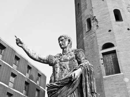 Caesar Augustus monument at Palatine towers in Turin, Italy photo