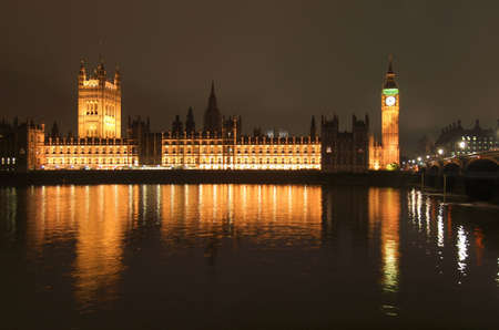 Houses of Parliament Westminster Palace London gothic architecture - at night Stock Photo - 9900151