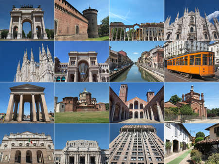 tramway: Famous landmarks and monuments collage in Milan, Italy