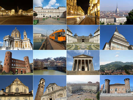 Turin famous landmarks and monuments collage, Italy Фото со стока
