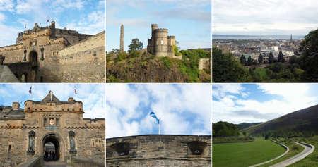 Famous Edinburgh landmarks collage, Scotland, UK photo