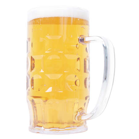Large German bierkrug beer mug tankard glass, half litre, one pint of Lager - isolated over white background Stock Photo - 10293242