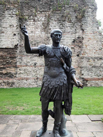 Ancient Roman monument of the Emperor Trajan London UK photo