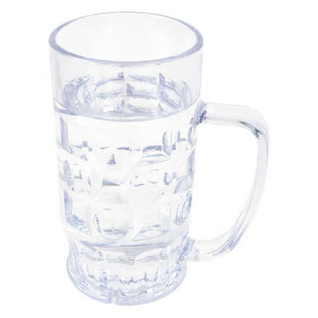 Large German bierkrug beer mug tankard glass, half litre, one pint of water - isolated over white background photo