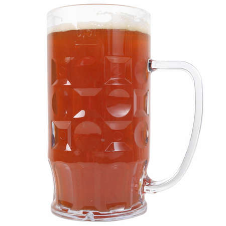 litre: Large German bierkrug beer mug tankard glass, half litre, one pint of dark beer - isolated over white background
