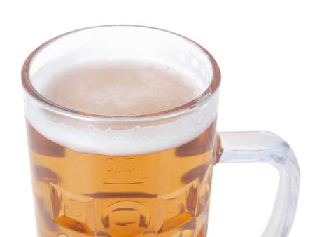 litre: Large German bierkrug beer mug tankard glass, half litre, one pint - isolated over white background Stock Photo