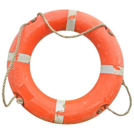 bata blanca: Una boya de vida para la seguridad en el mar - aislada sobre fondo blanco