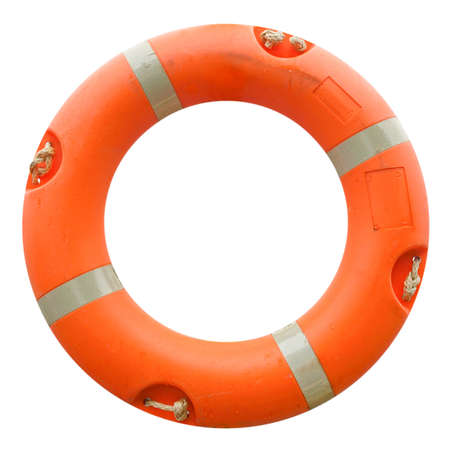 A life buoy for safety at sea - isolated over white background