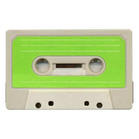 Magnetic tape cassette for audio music recording - isolated over white background photo