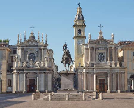 Chiesa di Santa Cristina e Carlo church in Piazza San Carlo, Turin, Italy 스톡 콘텐츠