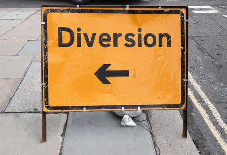 diversion: A traffic or a construction site sign - Diversion Stock Photo