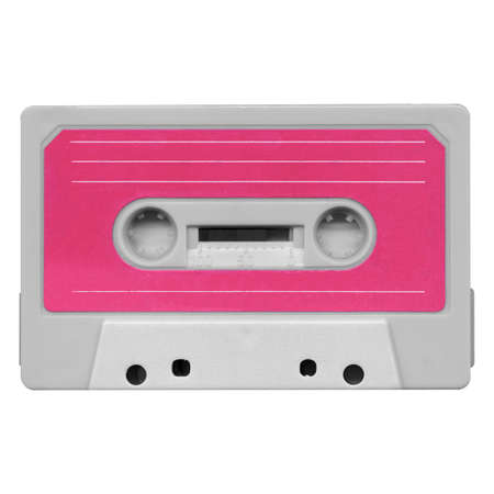 Magnetic tape cassette for audio music recording - isolated over white background