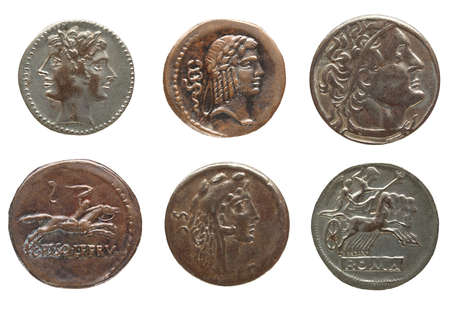 Detail macro of ancient Roman coin money