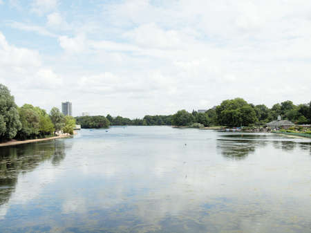 hyde: Serpentine lake river in Hyde Park Kensington Gardens London UK Stock Photo