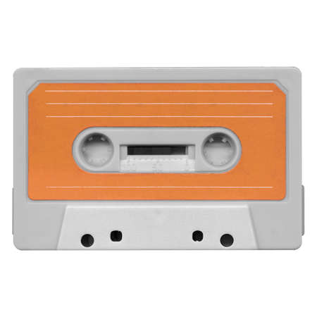 tape cassette: Magnetic tape cassette for audio music recording - isolated over white background