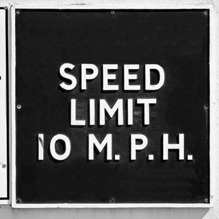 mph: A traffic sign speed limit 10 mph Stock Photo