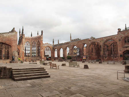 bombed: Ruins of bombed St Michael Cathedral, Coventry, England, UK