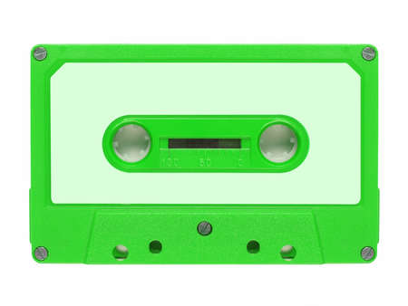 cassette tape: Magnetic tape cassette for audio music recording - isolated over white background