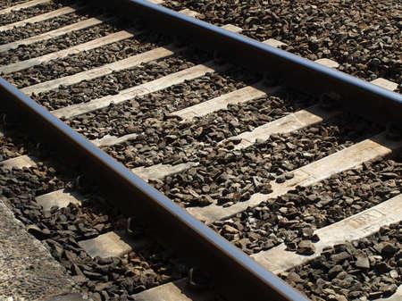 Detail of railway railroad tracks for train photo