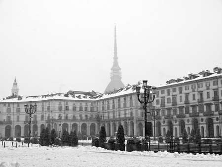 The Piazza Vittorio Emanuele II square in Turin Italy - winter view with snow Stock Photo - 12279608