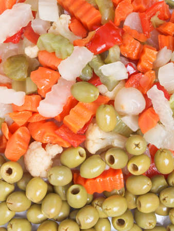 Mixed vegetables as used in Russian Salad including carrots turnips courgettes zucchini cauliflower peppers celery onions olives Stock Photo - 12323903