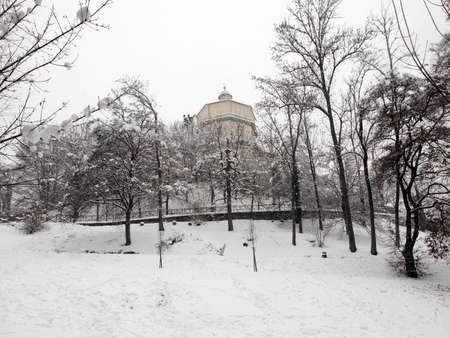 Church of Monte Dei Cappuccini Turin Italy - winter view with snow photo