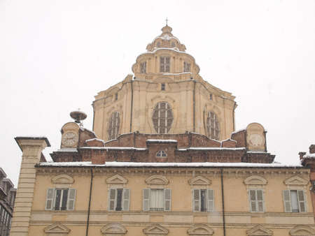 The church of San Lorenzo Turin Italy - winter view with snow photo
