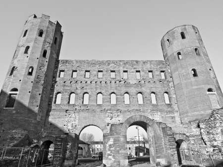 Palatine towers (Porte Palatine) ancient roman town gates Turin photo