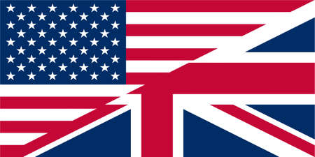 Illustration of UK and USA flags interweaved illustration