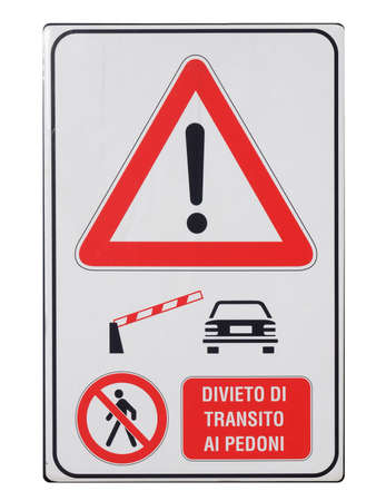 A traffic or a construction site sign - in Italian photo