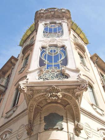 casa: Casa Fleur Fenoglio, old liberty house in Turin, Italy Stock Photo