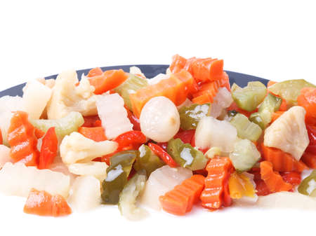 Mixed vegetables as used in Russian Salad including carrots turnips courgettes zucchini cauliflower peppers celery onions Stock Photo - 13197515