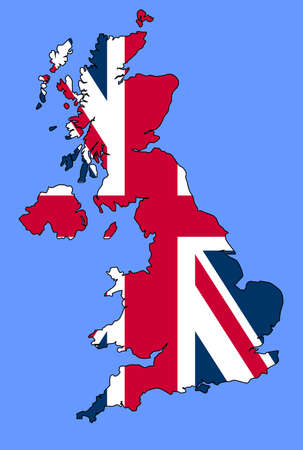 british isles: UK map with Union Jack flag