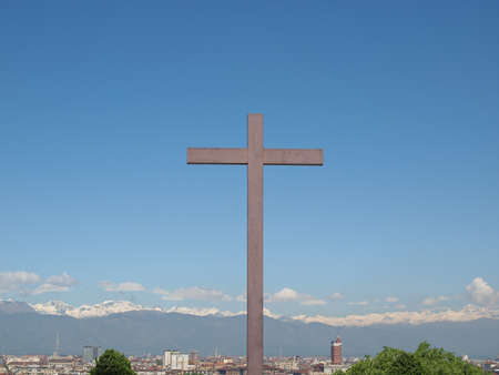 wooden cross: A wooden Christian cross symbol of Christianity on the Turin Hills at Monte dei Cappuccini, Torino, Italy