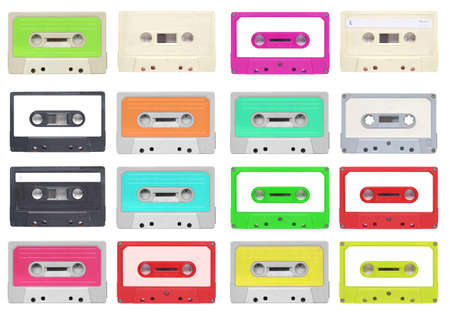 Set of magnetic tape cassette for audio music recording - isolated over white background Stock Photo - 13805232