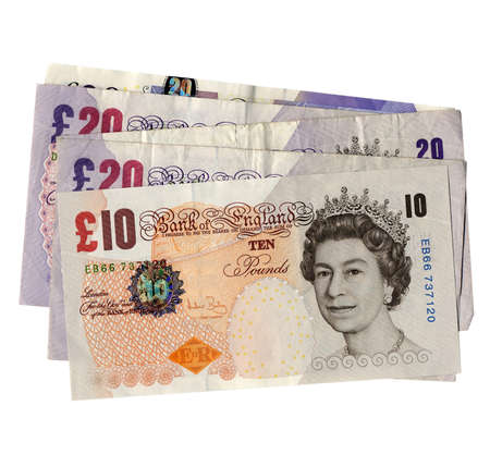 gbp: Detail of British Pounds GBP banknotes money