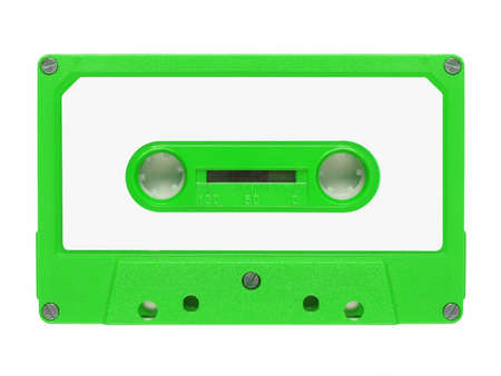 stereo cut: Magnetic tape cassette for audio music recording - isolated over white background