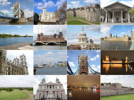 Famous landmarks and monuments collage, London, England, UK photo