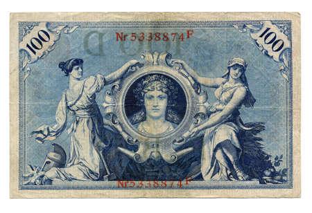 Vintage withdrawn 100 Mark banknote of the Deutsches Reich (German Empire), year 1908