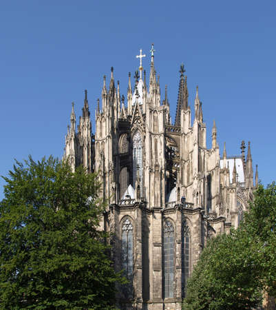 rectilinear: Koelner Dom, gothic cathedral church in Koeln (Cologne), Germany - rectilinear frontal view