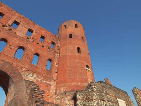 palatine: Palatine towers (Porte Palatine) ancient roman town gates Turin Stock Photo