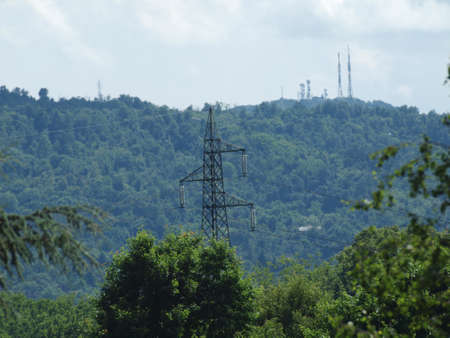 An electric power high voltage transmission line photo